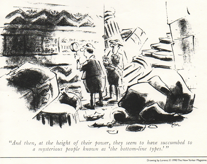 "Lorenz Cartoon in New Yorker magazine: ""Bottom-line types"""