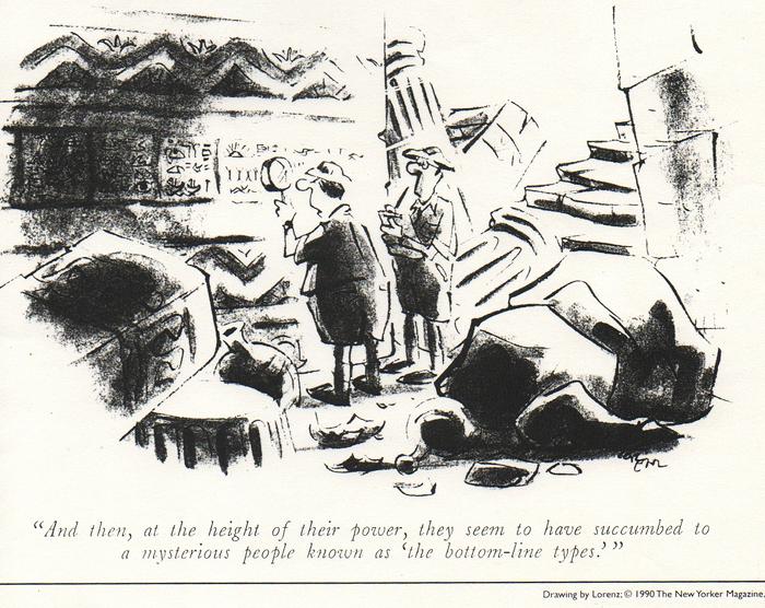 """Lorenz Cartoon in New Yorker magazine: """"Bottom-line types"""""""