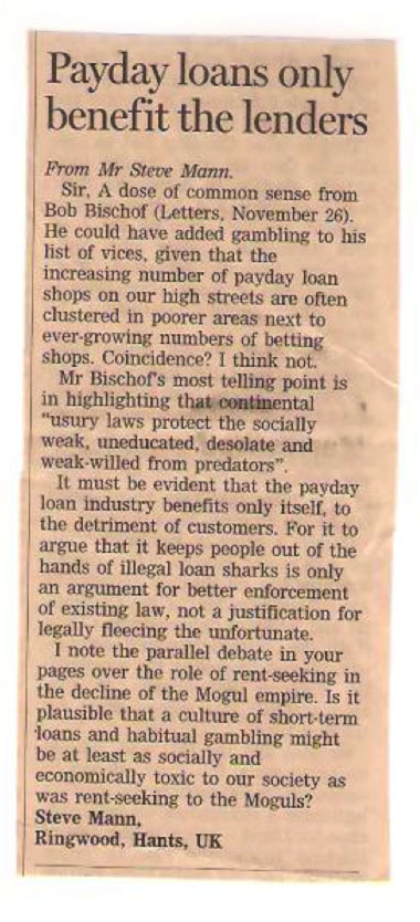 Steve Mann's reply in the Financial Times