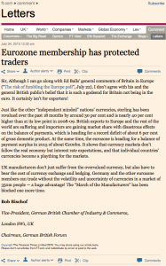 Bob Bischof letter in the FT July 2015