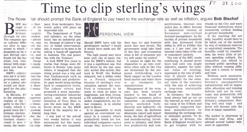 Time to clip sterlings wings? Bob Bischof on the Bank of England in FT
