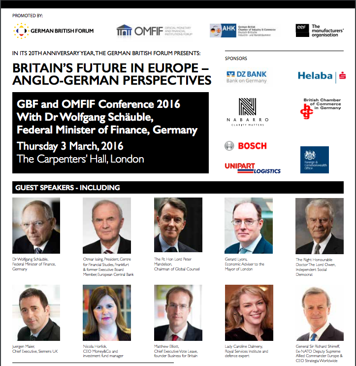 German British Forum Conference 2016