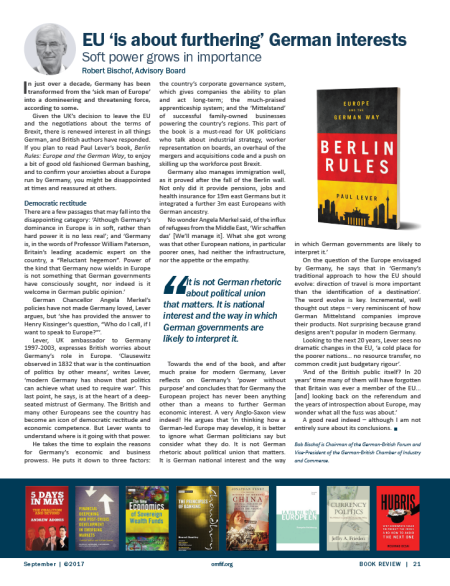 Berlin Rules - Book Review by Bob Bischof/OMFIF