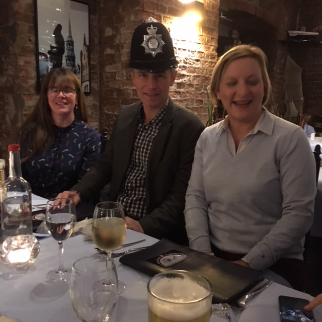 Penny Benham Detective Chief Superintendent, in the picture with her colleague Helena Devlin and Managing Director of the Hamburg Police Academy, Thomas Model sporting an English Bobby police helmet - a gift from his visitors.